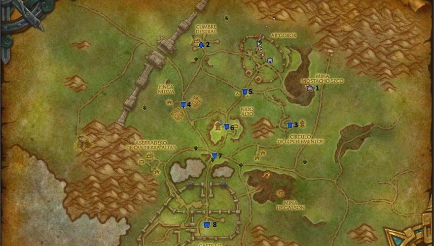 frentes de guerra wow mapa horda